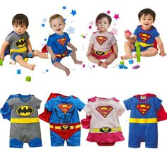 Free Shipping Baby Romper Superman Short Sleeve with Smock Infant Cartoon Batman Costume Kids Clothing Children Spring Gift $14.99