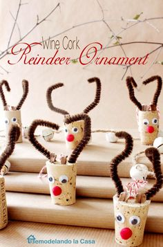 Wine Cork Reindeer Ornament This is An easy spin on the wine cork reindeer ornament. These little fellows are sure to light your home and tree this holiday season.