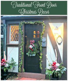 Traditional Christmas front door decoration with tartan ribbon filled urns, a garland around the front door and a traditional swag welcome you to our Tudor home.