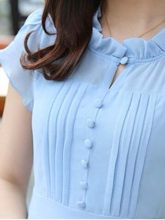 Ruffle Collar Chiffon Swing Dress - - Ruffle Collar Chiffon Swing Dress Source by Kurti Sleeves Design, Sleeves Designs For Dresses, Neck Designs For Suits, Kurta Neck Design, Neckline Designs, Dress Neck Designs, Blouse Designs, Collar Kurti Design, Salwar Designs