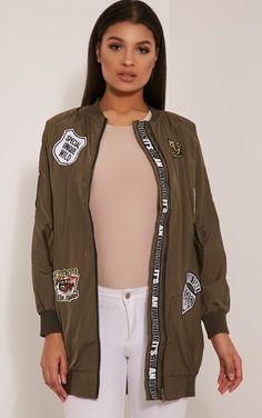 Kacee Khaki Longline Badge Detail Bomber Jacket Image 1