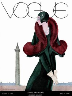 A Vintage Vogue Magazine Cover Of A Woman by Georges Lepape