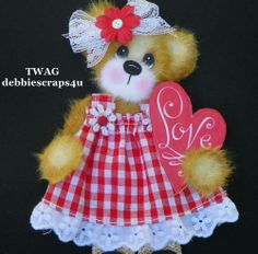 TWAG*DEBBIE* BABY GIRL TEAR BEAR PAPER PIECE PREMADE SCRAPBOOK PAGES CARD ALBUM