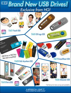 USB Drives Come is All Shapes, Sizes and Colors See What @hirschgift  Has to Offer! #HirschGift #USBdrives