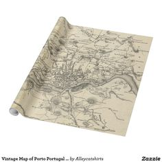 Vintage Map of Porto Portugal (1835) Wrapping Paper