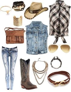 There is 1 tip to buy jacket, hat, cowgirl boots, jewels, jeans, blouse, bag.