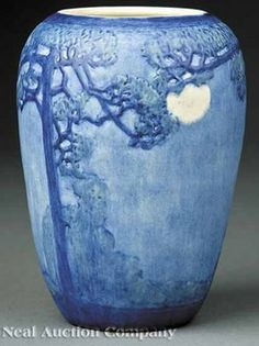 pottery & porcelain, Louisiana, A Newcomb College art pottery matte glaze vase, circa 1940, decorated by Henrietta Bailey with a relief-carv...
