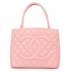 Vintage Chanel pink classic medallion caviar skin tote bag ❤ liked on Polyvore featuring bags, handbags, chanel, purses, bolsas and filler