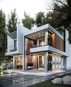 46 Amazing House Design For Your Home 2020 Modern Villa Design, Modern Exterior House Designs, Dream House Exterior, Cool House Designs, Contemporary Design, Best Modern House Design, Design Exterior, Modern House Facades, Modern Architecture House