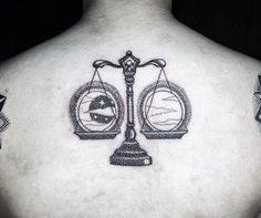 Sun And Moon Guys Libra Back Tattoos