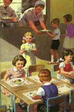 We marched across the road to the vicarage hall. A hot cooked meal was delivered daily in aluminium containers. Retro Humor, Vintage Humor, Vintage Posters, Vintage Cards, Good Old Times, The Good Old Days, Professor, Norman Rockwell Paintings, Ladybird Books