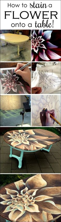 Flower painted on table.