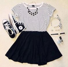 black, clothes, converse, cool, dream, fashion, girly, headband, hippie, hipster, outfit, skater skirt, sneakers, someday, swag, teenager, trendy, tshirt, white, wish