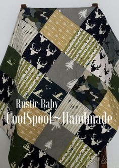 Baby Quilt Boy Woodland Dogs Ducks Moose Deer Guns by CoolSpool