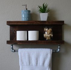 Industrial Modern Rustic 2 Tier Floating Shelf by KeoDecor on Etsy