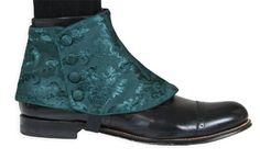 Premium Mens Button Spats - Green Jacquard (One Pair)