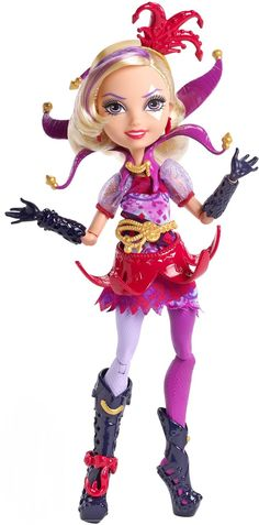 Courtly Jester Signature Ever After High Doll, 2015 (I bought her on sale at Toysrus.com for $16) - Courtly Jester, the daughter of the Joker card, is a new character who was introduced in the Ever After High: Way Too Wonderland (2015) movie.