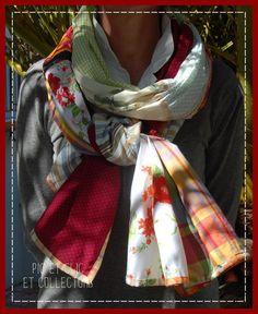 Chèche écharpe patchwork tons rouge rose indien orange vert   Echarpe,  foulard 40615fc0eb6