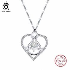 5600218fd ORSA JEWELS 100% Solid 925 Sterling Silver Pendant With AAA CZ Heart Shape  Necklace 45CM China Women Party Jewelry SN81