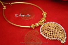 Gold Plated Mango Necklace from Advaita ~ South India Jewels Silver Jewellery Indian, Gold Jewellery Design, Gold Jewelry, Jewelery, Mango Necklace, Short Necklace, Necklace Set, India Jewelry, Gold Set