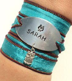 Hey, I found this really awesome Etsy listing at https://www.etsy.com/listing/167254757/custom-name-silk-wrap-bracelet-owl-sarah