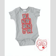 True North Strong and Free Onesie Canada gift for baby