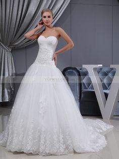 Mapuana - corte evasé strapless vestido de novia de satén con apliques