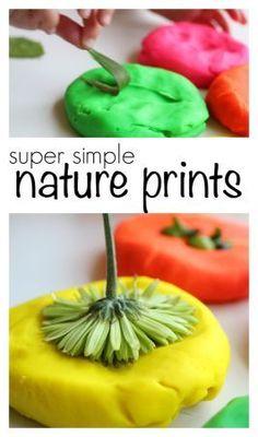 Nature playdoh prints!