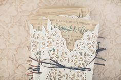 North Carolina Lovebird Wedding: Lace wrapped invitations