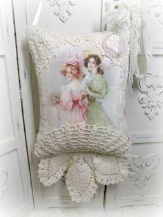 French Parosol ladies KEEPSAKE Gift Pillow w/matching tag and sachet