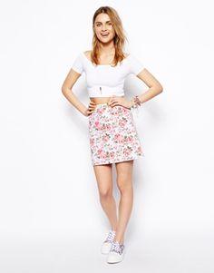 Image 1 ofASOS A-Line Denim Skirt in Floral Print