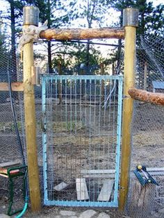 Our recycled mattress spring garden gate... Maybe more of them can work to keep critters out of the garden.