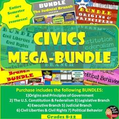 "MEGA BUNDLE for CIVICS (U.S. Government)(Grades 8-12)–SAVE $$$  This product includes everything you need to teach a semester course for your secondary Civics/American Government class. Purchase in BUNDLE and you will automatically save 25% off of each product! A daily pacing guide and detailed lesson plans are included! ""Work smarter not harder!"""