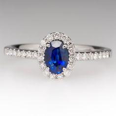 .63 Carat Blue Sapphire & Diamond Halo Ring 14K