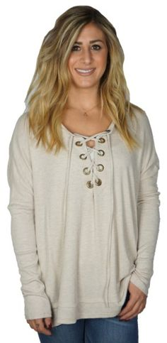 EDGY CHIC TOP $39 #top #fashion #laceup #cream #beige #oversized #trends #musthave #style #womens #womensstyle #womensfashion #liketkit #apricotlane #apricotlanebismarck