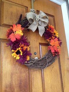 Fall Wreath: yellow, purple, orange