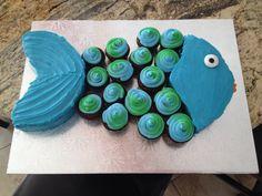 Fish cupcake cake blue & green