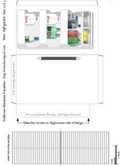 ~ Dollhouse Miniature Printables ~ Mini Refrigerator
