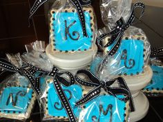 Custom monogram cookies with disco dust for a pre-teen's birthday party...she loved them!!!