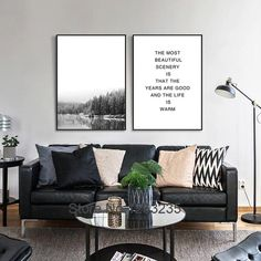 Nordic Landscape Mountain Forest Posters And Prints Wall Art Canvas Painting Wall Pictures For Living Room Poster Unframed Black Sofa Living Room Decor, Picture Wall Living Room, Nordic Living Room, Black And White Living Room, Living Room Pictures, Wall Pictures, Black Leather Sofa Living Room, Canvas Wall Decor, Canvas Frame