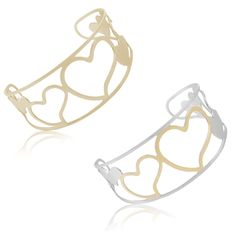 $3.99 - Stainless Steel Big Hearts Design Small Cuff Bangle - Gold or Two-Tone
