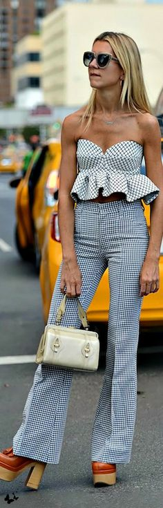 Street style - NYFW Spring 2015 top and pants. women fashion outfit clothing style apparel @roressclothes closet ideas