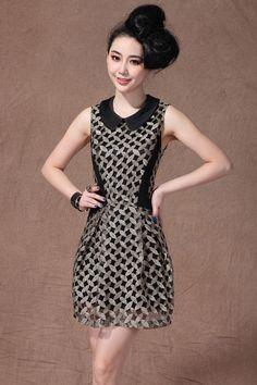 Black Peter Pan Collar Sleeveless Gold Silk Embroidery Dress
