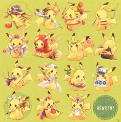 Pikachu x different animation character