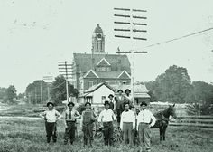 Phone line workers on North Jackson looking north early 1900s Russellville Al