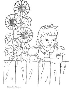 Sunflower Coloring Page I Can See This In Redwork