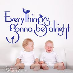 Vinyl Wall Decal: Everything's gonna be alright Quote with Little Birds for Baby Room, Nursery, Childrens Playroom or Bedroom Decor (Navy). $25.00, via Etsy.  #home #decor #decorating