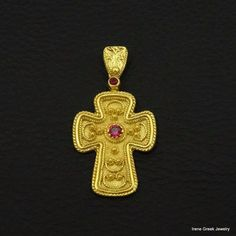 LUXURY RUBY CZ BYZANTINE 925 STERLING SILVER 22K GOLD PLATED GREEK ART CROSS #IreneGreekJewelry #Pendant