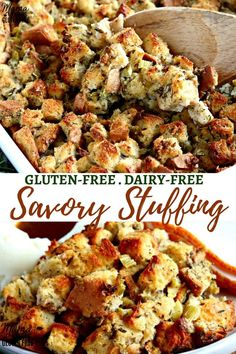 Easy Gluten-Free Stuffing {Dairy-Free} This is an easy and delicious savory gluten-free stuffing recipe. This classic stuffing recipe will complete any meal. Perfect for Thanksgiving or any holiday meal! The recipe is also dairy-free. Dairy Free Thanksgiving Recipes, Stuffing Recipes For Thanksgiving, Thanksgiving Sides, Healthy Christmas Recipes, Holiday Meals, Thanksgiving Desserts, Vegetarian Stuffing, Gluten Free Stuffing, Classic Stuffing Recipe