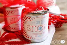 "Christmas Kid Idea: ""Can of Snow"" I'd use this label but put white cotton candy inside (original idea is to actually make fake snow with kosher salt, etc)"